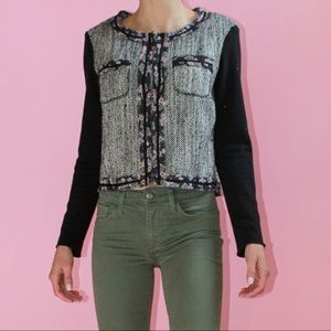 BCBGeneration Tweed/Floral Contrast Boucle Jacket